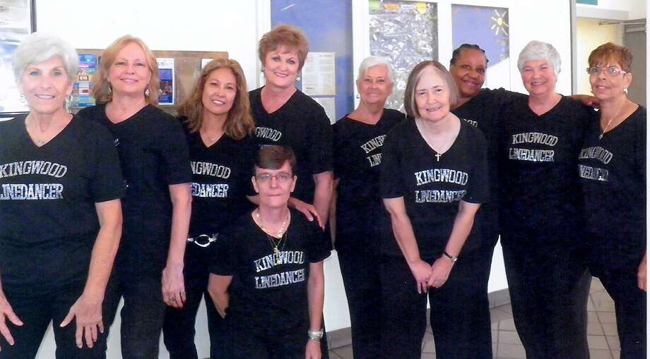 The Kingwood line dancers are Petra Ringeiser, front, and Martha Mierendorf, from left, Glenda Willingham, Connie Shifferd, Kay Caffey, Pat Floyd, Ruth Havens, Joyice Garrick, Juanita Jordan and Laura Henderson. Photo: Photo By Houston Parks And Recreation Department