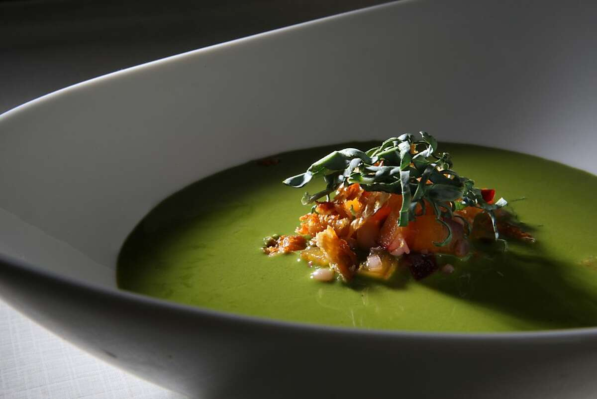 Chilled kale soup with pickled plum and flageolet beans styled by Amanda Gold in San Francisco, California, on Wednesday, October 2, 2013.