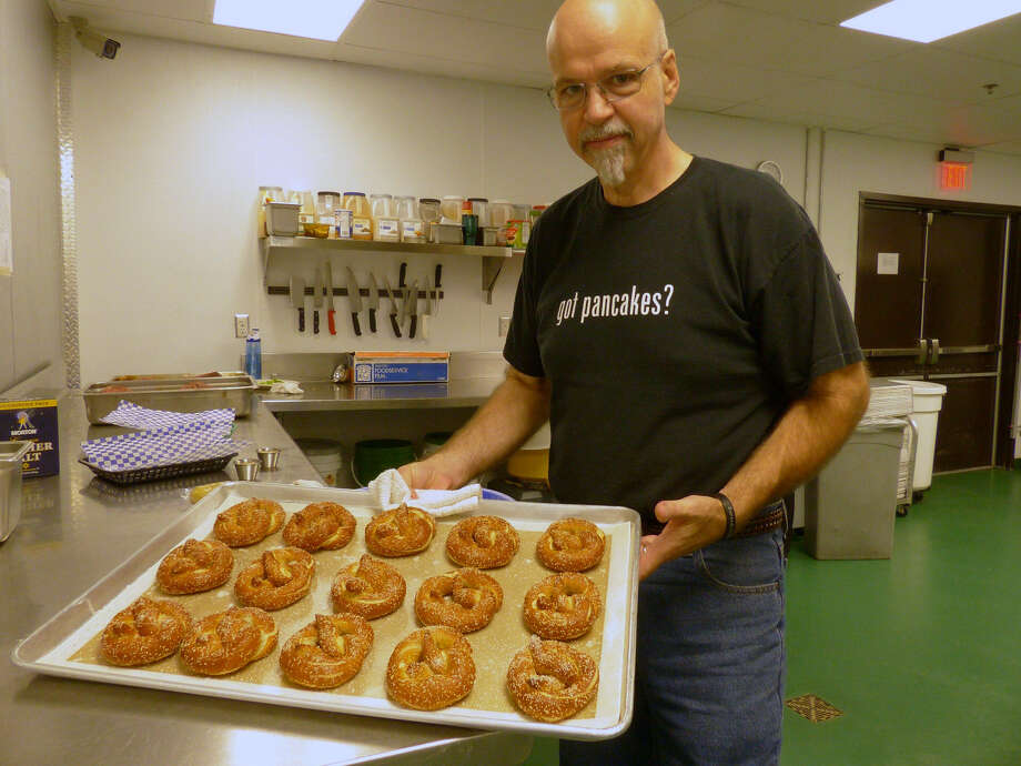 Robert Fleming serves his pretzels with a hot and sweet Bavarian mustard, garlic olive oil and a cheese dip.