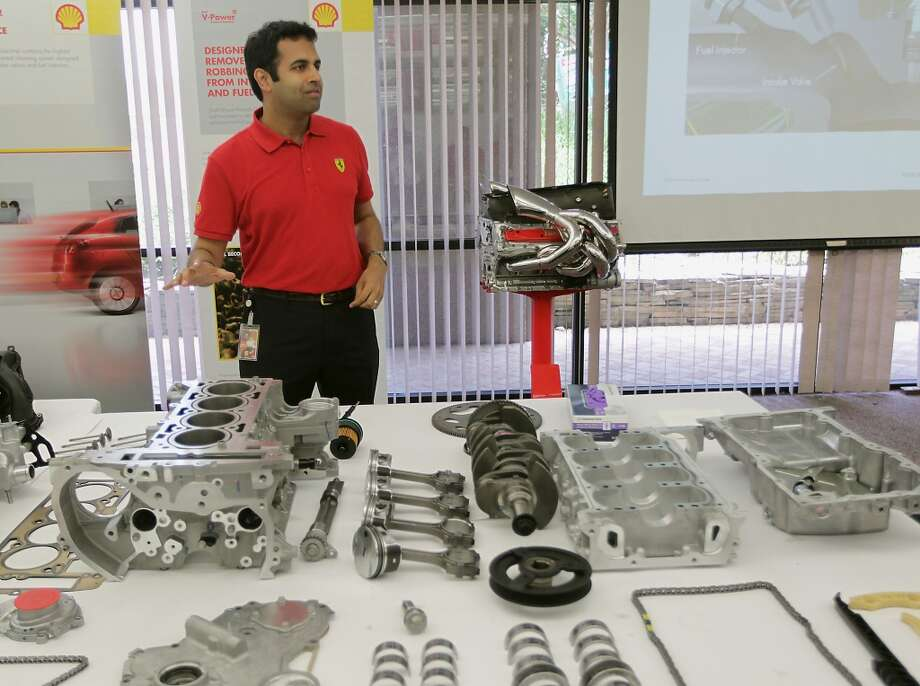 Shell Oil Company's Vinod Natarajan speaks about automotive engines during a tour of Shell Oil Company's Shell Research Center Tuesday, June 25, 2013, in Houston. ( James Nielsen / Houston Chronicle ) Photo: Houston Chronicle