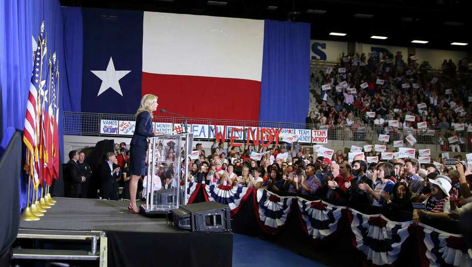 Sen. Wendy Davis, D-Fort Worth, speaks to supporter at a rally Thursday, Oct. 3, 2013, in Haltom City, Texas.  Davis formally announced her campaign to run for Texas governor (AP Photo/LM Otero) Photo: LM Otero, Associated Press / AP