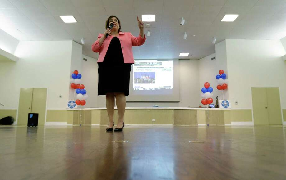 Texas Sen. Leticia Van DePutte speaks during an announcement watch party for State Sen. Wendy Davis, Thursday, Oct. 3, 2013, in San Antonio. Davis formally announced her campaign for governor, becoming the first Democrat to make an official bid for a statewide office. (AP Photo/Eric Gay) Photo: Eric Gay, Associated Press / AP