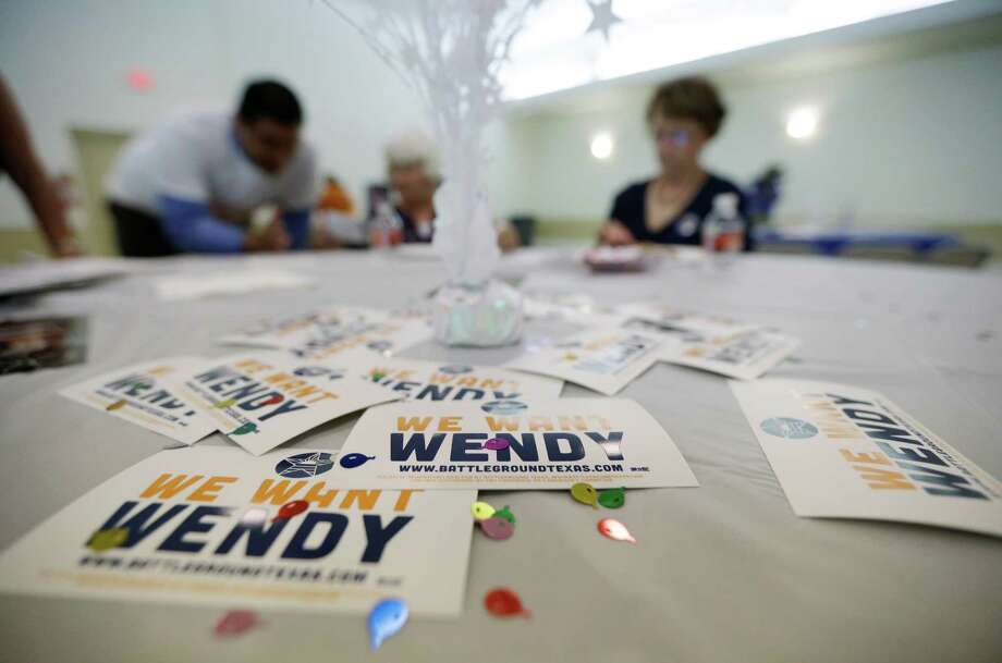 Supporters gather for an announcement watch party for State Sen. Wendy Davis, Thursday, Oct. 3, 2013, in San Antonio. Davis formally announced her campaign for governor, becoming the first Democrat to make an official bid for a statewide office. (AP Photo/Eric Gay) Photo: Eric Gay, Associated Press / AP
