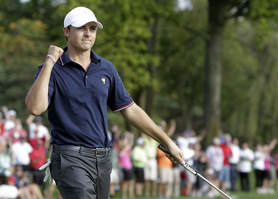 Jordan Spieth teamed with Steve Stricker to give the U.S. the Presidents Cup lead. Photo: Jay LaPrete, Associated Press