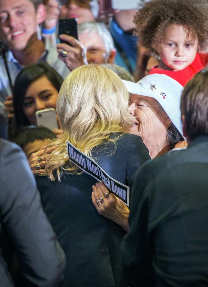 Wendy Davis greets supporters after announcing her candidacy for Texas governor at Wiley G. Thomas Coliseum in Haltom City on Thursday, October 3, 2013. Photo: Smiley N. Pool, Houston Chronicle / © 2013  Houston Chronicle