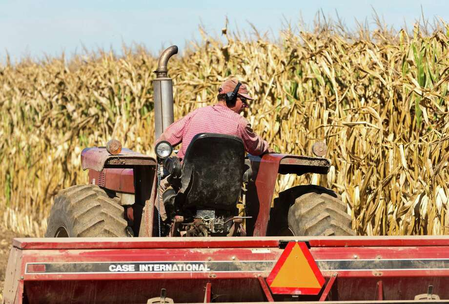 Tom Duerst drives his tractor planting winter wheat at his farm near Verona, Wis., Friday Sept. 27, 2013. Duerst, a 55-year-old Wisconsin dairy farmer with partial hearing loss now wears ear protection when working on the farm. (AP Photo/Andy Manis) Photo: Andy Manis, Associated Press / FR19153 AP