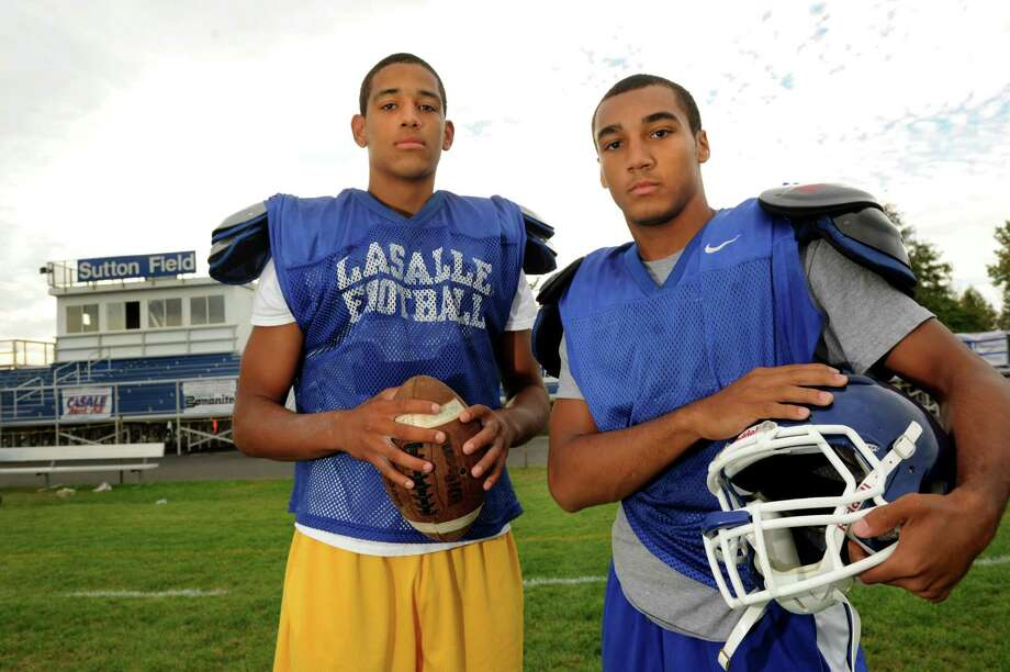 La Salle's quarterback Will Williams, left, and wide receiver Dylan Thompson during football practice on Thursday, Oct. 3, 2013, at La Salle Institute in Troy, N.Y. (Cindy Schultz / Times Union) Photo: Cindy Schultz / 00024108A