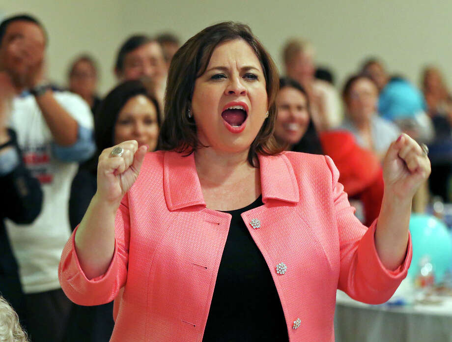 State Senator Leticia Van de Putte cheers at a watch party, Thursday Oct. 3, 2013 at the San Antonio Firefighters Banquet Hall, for state Senator Wendy Davis, who announced her campaign for governor. Photo: Edward A. Ornelas, San Antonio Express-News / © 2013San Antonio Express-News