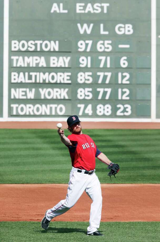 Boston Red Sox starting pitcher Ryan Dempster throws during a baseball workout at Fenway Park, Thursday, Oct. 3, 2013, in Boston. The Red Sox will face the Tampa Bay Rays in Game 1 of the American League division series on Friday. (AP Photo/Charles Krupa) ORG XMIT: MACK108 Photo: Charles Krupa / AP