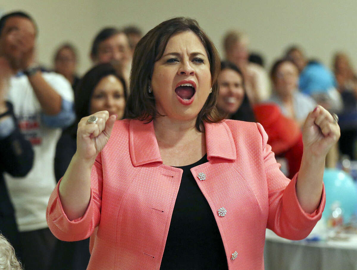 State Sen. Leticia Van de Putte cheers at the party. When Sen. Wendy Davis announced she is running for governor, Van de Putte's supporters urged her to join the ticket.
