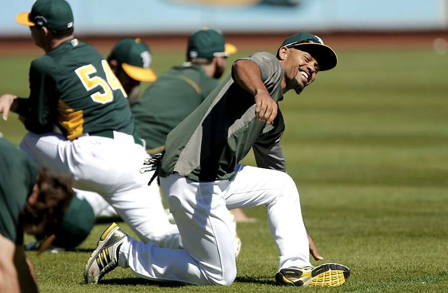 A's center fielder Coco Crisp says he doesn't think about his error against the Tigers in Game 2 of last year's American League Division Series - unless pesky reporters bring it up. Photo: Michael Macor, The Chronicle