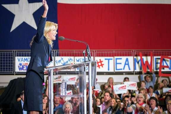 State Sen. Wendy Davis avoided any mention of abortion in her speech Thursday in Haltom City.