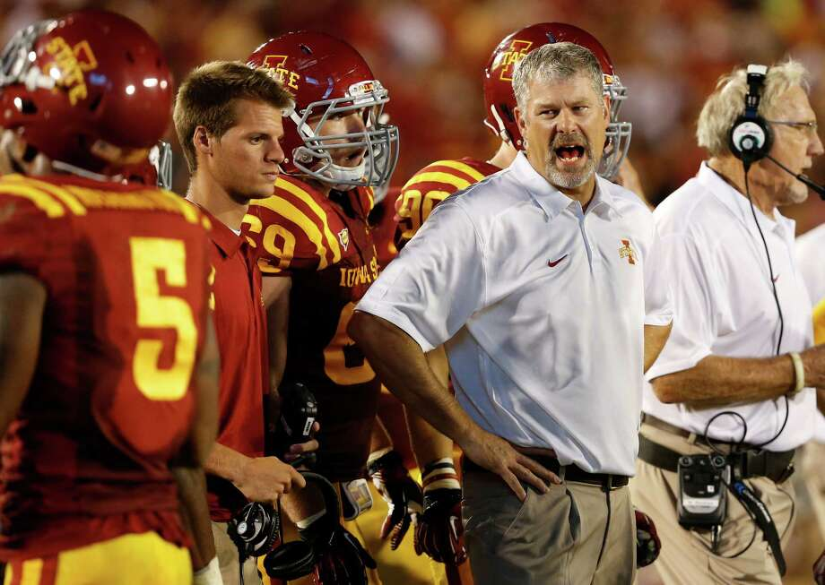 Head coach Paul Rhoads of the Iowa State Cyclones directs from the sidelines in the second half of play against the Texas Longhorns at Jack Trice Stadium on October 3, 2013 in Ames, Iowa. Texas defeated Iowa State 31-30. Photo: David Purdy, Getty Images / 2013 Getty Images