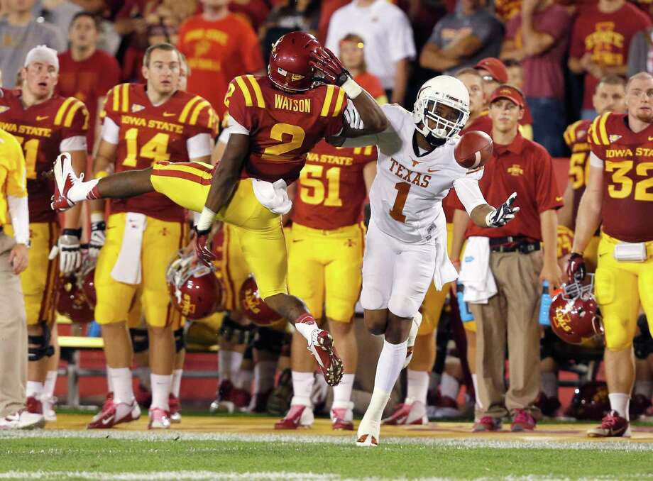 AMES, IA - OCTOBER 3:  Defensive back Jansen Watson #2 of the Iowa State Cyclones breaks up a pass meant for wide receiver Mike Davis #1 of the Texas Longhorns in the second half of play at Jack Trice Stadium on October 3, 2013 in Ames, Iowa. Texas defeated Iowa State 31-30. Photo: David Purdy, Getty Images / 2013 Getty Images