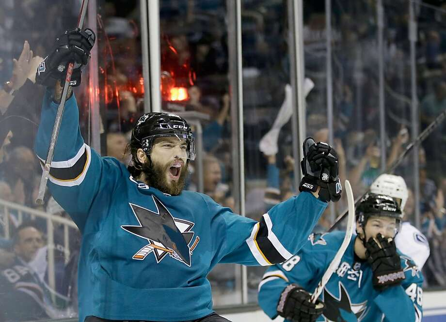 SAN JOSE, CA - OCTOBER 03:  Brent Burns #88 of the San Jose Sharks celebrates after he scored a goal in the second period of their game against the Vancouver Canucks at SAP Center on October 3, 2013 in San Jose, California.  (Photo by Ezra Shaw/Getty Images) Photo: Ezra Shaw, Getty Images