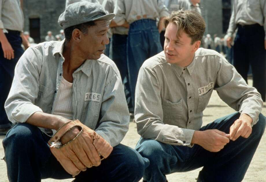 "Tim Robbins, and Morgan Freeman in ""The Shawshank Redemption.""  Not sure about the overarching consciousness, and it's not topical, but it has the four other tendencies for sure. Classic? It's emerging as one, yes. Photo: MICHAEL WEINSTEIN, Associated Press"