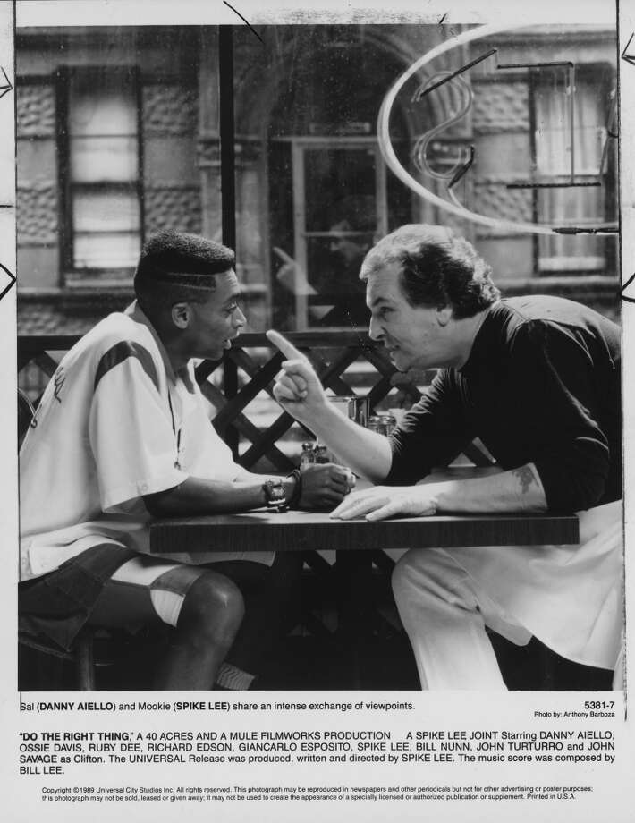 "Danny Aiello and Spike Lee in ""Do The Right Thing.""  Six of six.  Classic?  Yes. Photo: Universal City Studios"