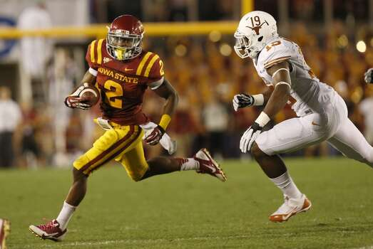 Texas 31, Iowa State 30Record: 3-2  Running back Aaron Wimberly #2 of Iowa State rushes for yards against linebacker Peter Jinkens #19 of the Longhorns. Photo: David Purdy, Getty Images
