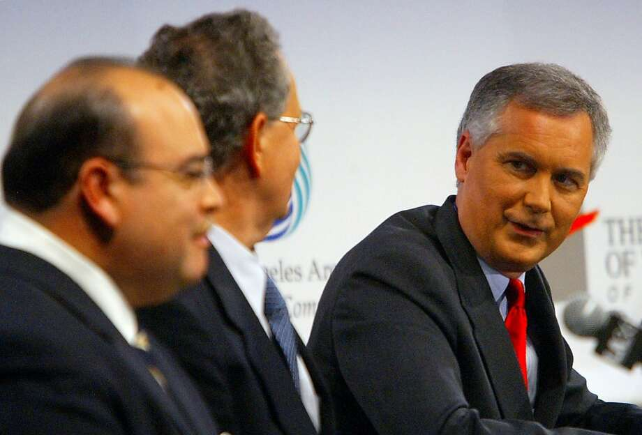 California gubernatorial candidates, from left, Lt. Gov. Cruz Bustamante, Green Party candidate Peter Camejo, and state Sen. Tom McClintock, R-Northridge are shown during a debate Thursday, Oct. 2, 2003, at the Museum of Tolerance in Santa Monica, Calif. Photo: Lawrence K. Ho, AP