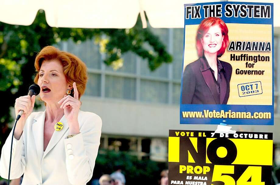 It was a strange time in California history. The 2003 gubernatorial election brought out a bevy of eccentric and unexpected candidates. Among them: California Independent Arianna Huffington. Here she is addressing several hundred Fresno State students at the Fress Speech Plaza at Fresno State on Sept. 26, 2003. Photo: Tomas Ovalle, AP
