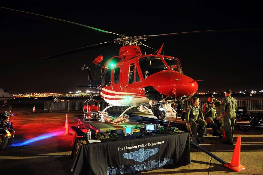 One of the Houston Police Department's helicopters on display at the HPD True Blue Gala benefitting the Houston Police Foundation at the Landry's Flight Hanger at Hobby Airport Saturday Oct. 20,2012. Photo: Dave Rossman, For The Houston Chronicle