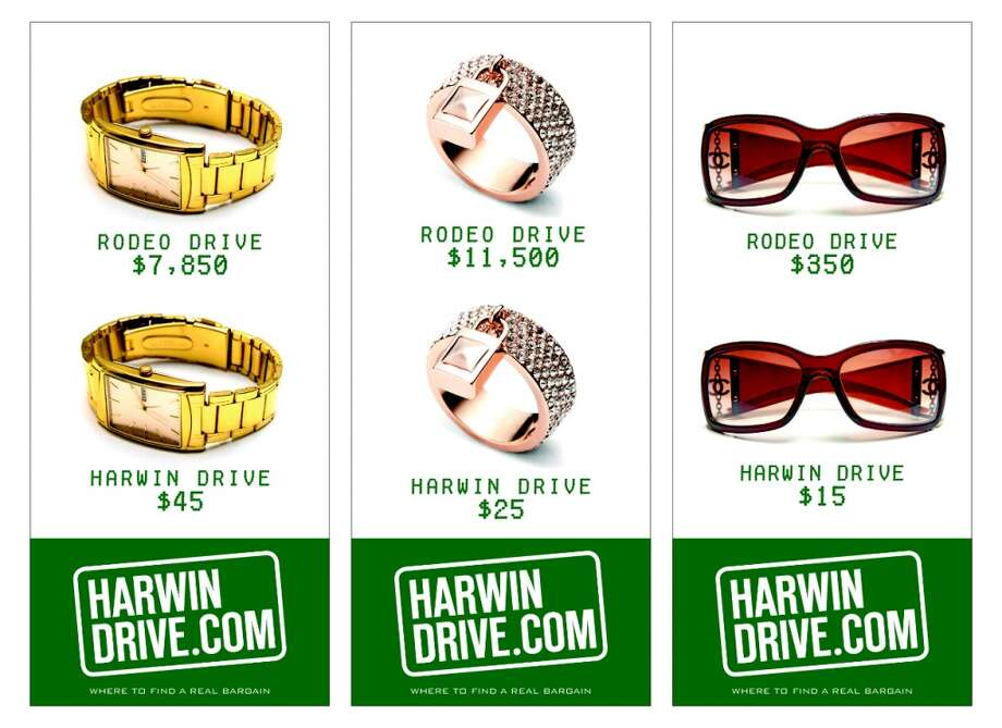 An tongue-in-cheek ad for HarwinDrive.com comparing items on Rodeo Drive with those on Harwin. (courtesy The Hucksters)