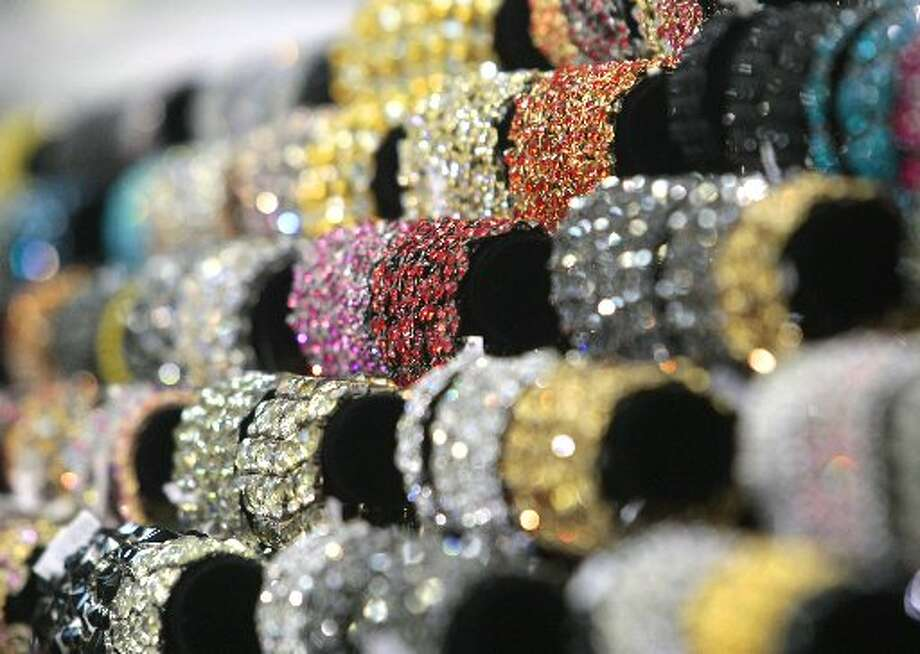 Bracelets on sale at Bella Jewelry in Harwin Central Mart. Photo: Billy Smith II