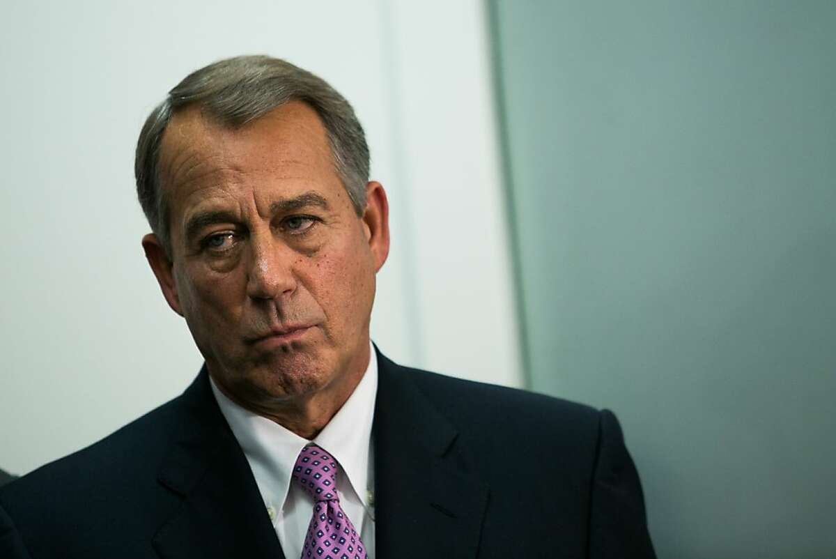 House Speaker John Boehner (R-Ohio) at a news conference on the fourth day of the government shutdown, on Capitol Hill in Washington, Oct. 4, 2013. (Drew Angerer/The New York Times)