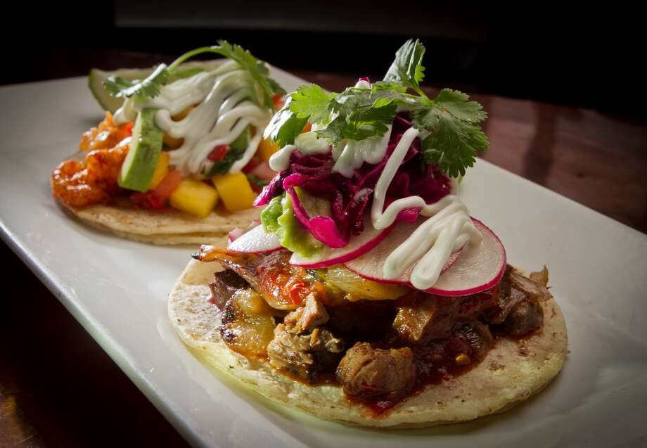 The Carne Asada and Camaron Costeno tacos at Papito Restaurant . Photo: John Storey