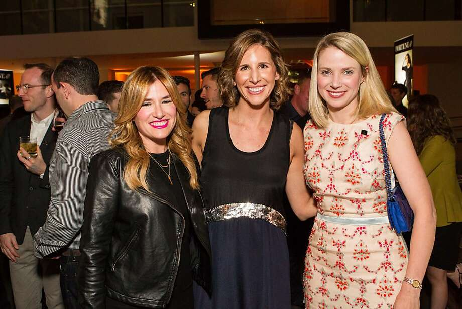 Alli Webb, Leigh Gallagher and Marissa Mayer at Fortune's 40 Under 40 party at Airbnb HQ on Oct. 3. Photo: Drew Altizer Photography/SFWIRE, Claudine Gossett For Drew Altize