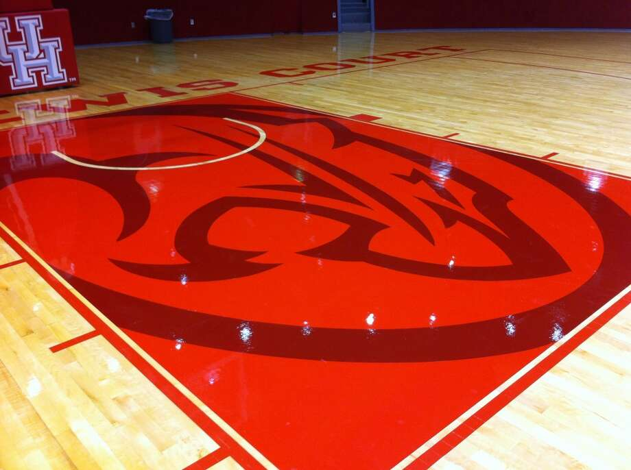 The new Cougar logo painted in the lane at Hofheinz Pavilion. (Joseph Duarte/Chronicle)