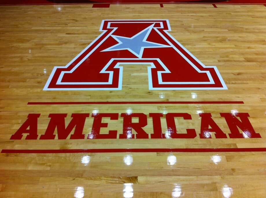 The American Athletic Conference logo painted on the court at Hofheinz Pavilion. (Joseph Duarte/Chronicle)