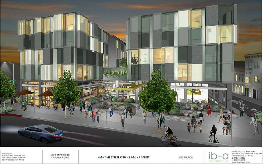 An artist's rendering shows the planned housing and supermarket complex. Photo: Courtesty Ian Birchall And Assoc