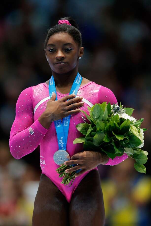 Simone Biles after receiving her gold medal. Photo: Dean Mouhtaropoulos, Getty Images