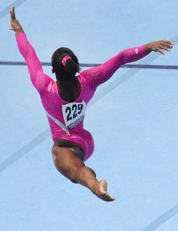 United States gymnast Simone Biles competes during an all-around final at the Artistic Gymnastics World Championships in Antwerp, Belgium. Photo: Yves Logghe, Associated Press