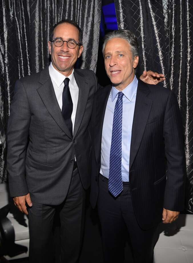 Jerry Seinfeld and Jon Stewart attend the USC Shoah Foundation Institute 2013 Ambassadors for Humanity gala at the American Museum of Natural History on October 3, 2013 in New York, New York.  (Photo by Larry Busacca/Getty Images for the USC Shoah Foundation Institute) Photo: Larry Busacca, (Credit Too Long, See Caption)