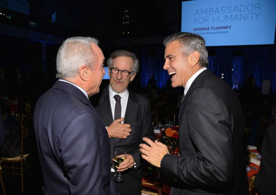 (L-R) Lorne Michaels, Steven Spielberg, and George Clooney attend the USC Shoah Foundation Institute 2013 Ambassadors for Humanity gala at the American Museum of Natural History on October 3, 2013 in New York, New York.  (Photo by Larry Busacca/Getty Images for the USC Shoah Foundation Institute) Photo: Larry Busacca, (Credit Too Long, See Caption)