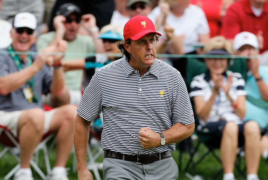 Phil Mickelson and his partner recorded a win. Photo: Gregory Shamus, Getty Images