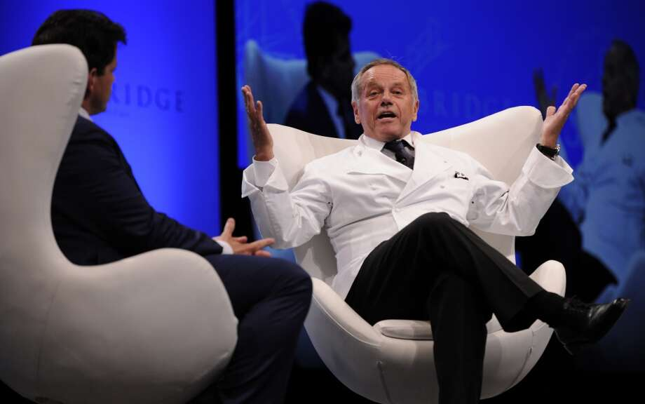 Singapore: Chef Wolfgang Puck gestures as he speaks during the SkyBridge Alternatives (SALT) Asia conference in Singapore Photo: Munshi Ahmed, Bloomberg