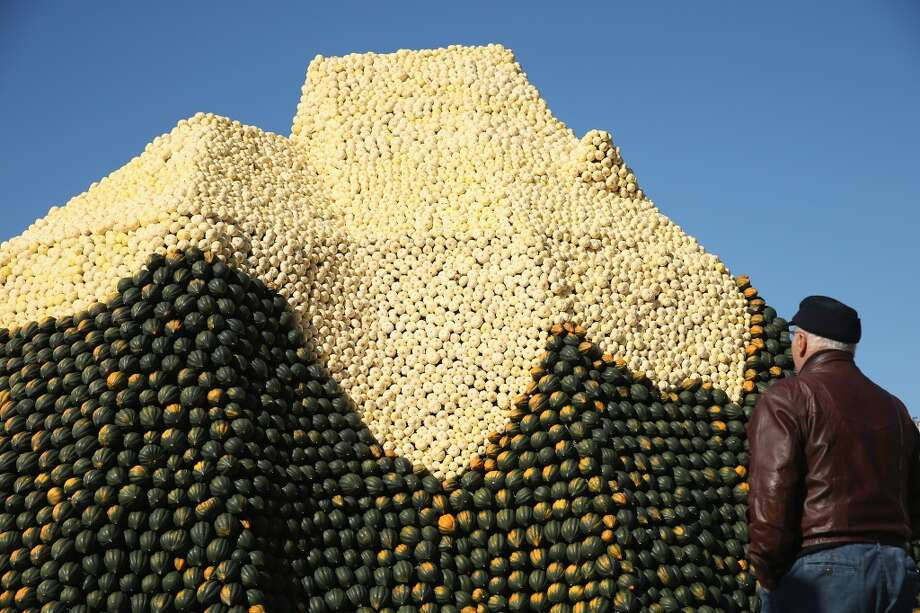 Germany:  A visitor looks at a display meant to look like the Matterhorn and decorated entirely with locally-grown pumpkins and squash at the Spargelhof Buschmann & Winkelmann farm in Klaistow, Germany. The Buschmann & Winkelmann farm, which grows approximately 80 different kinds of pumkins and squash, hosts an annual amusement park with tens of thousands of pumpkins and squash arranged into decorations that this year are in a Heidi and the Alm alpine theme. Photo: Sean Gallup, Getty Images