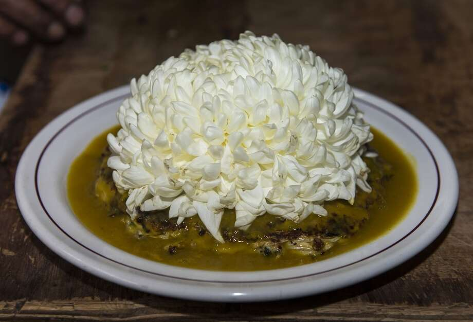 Mexico: Detail of a plate of ant eggs with Chrysantemums at Don Chon restaurant's kitchen. The Restaurant Bar Don Chon, in downtown Mexico City, was founded in 1924 specializes in exotic Mexican food. Photo: Omar Torres, AFP/Getty Images