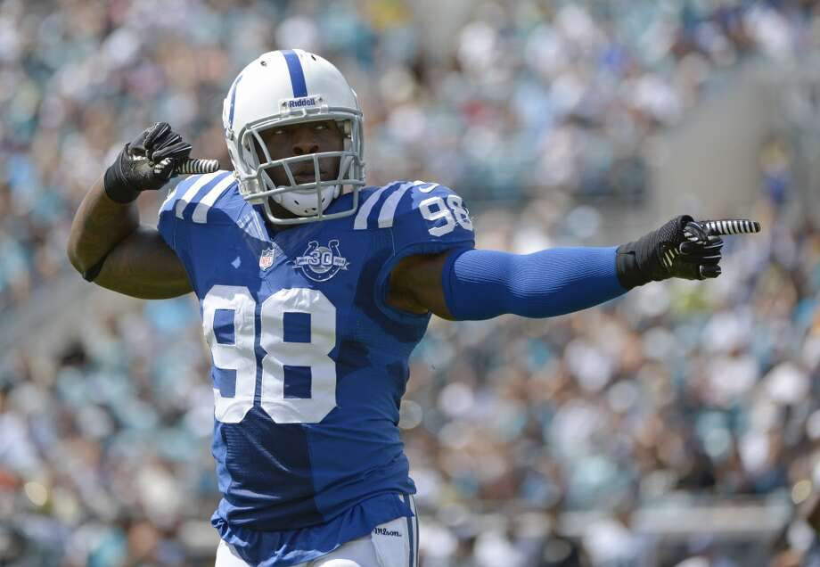 5. Avoiding Indianapolis' pass-rush  Who's leading the NFL in sacks? This guy, Robert Mathis (pictured) -- he and Kansas City's Justin Houston each have 7.5 so far this season. At 6-foot-2 and 246 pounds, the defensive end/linebacker-hybrid is a daunting figure on Indianapolis' defensive squad, and one of the Colts' most reliable players over his 11 years now in Indy.  We saw how much Seattle's offensive line struggled against Houston's J.J. Watt and Brian Cushing -- luckily for the Hawks, Indianapolis doesn't quite have that one-two punch on defense. But Mathis will be looking to roll through Seahawks' O-line and get his hands on Russell Wilson as much as possible.  Through four games, Indy has the league's eighth-best overall defense, giving up an average of 307.2 total yards per game. The Colts struggle more against the run than the pass, but not by much -- they've been allowing 106.8 rushing and 200.5 passing yards per game. Seattle, meanwhile, dropped from first a week ago to fifth after the team's shaky showing in Houston, and has given up 300.2 total yards per game. Photo: Phelan M. Ebenhack, Associated Press