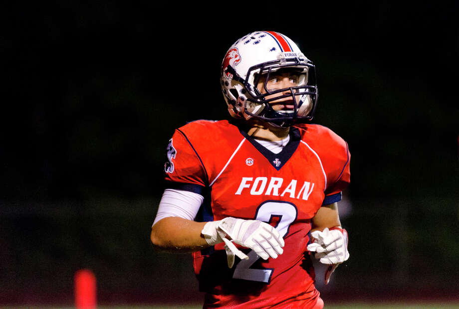 Foran's Nicholas Weissauer (2) on the field during the football game against Shelton at Foran High School in Milford on Friday, Oct. 4, 2013. Photo: Amy Mortensen / Connecticut Post Freelance