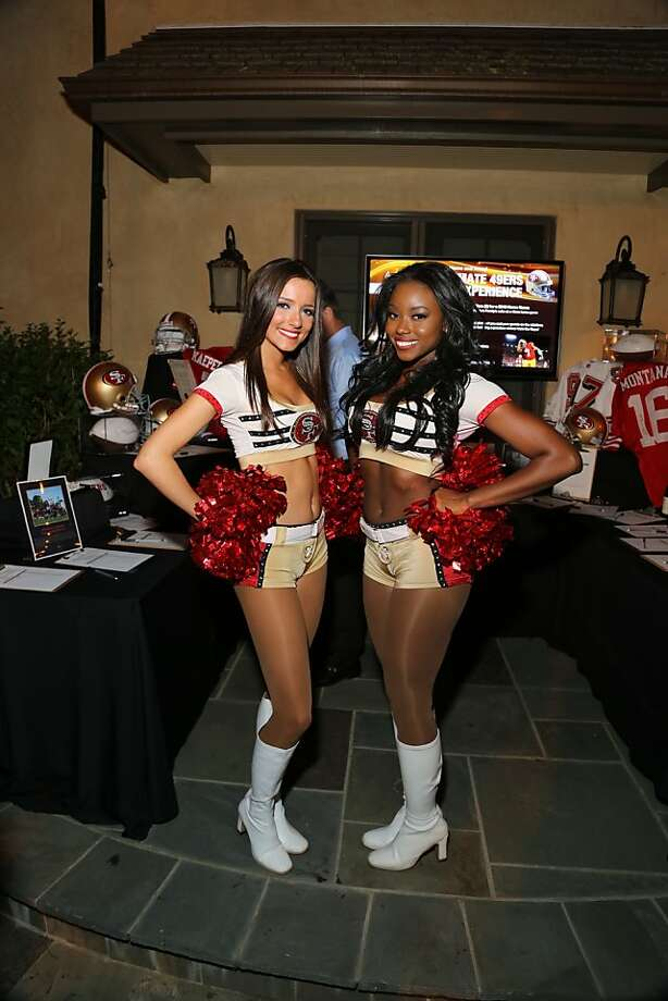 San Francisco 49ers cheerleaders Julie B. and Ileri attend a fundraiser. Photo: Courtesy 49ers Academy