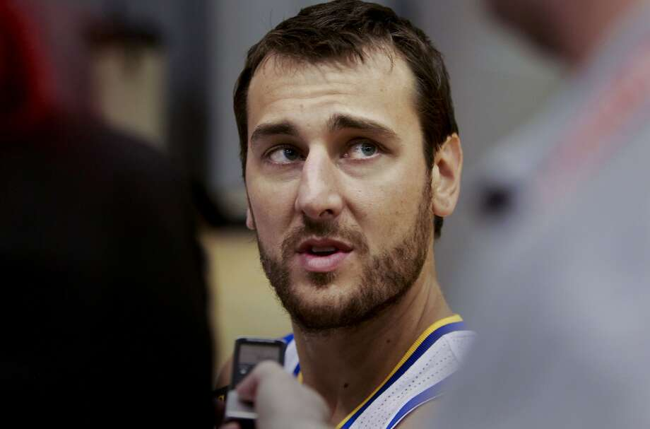 Center, Andrew Bogut, (12) talks with reporters as the Golden State Warriors hold a media day at their practice facility in downtown Oakland, Calif. on Friday September 27, 2013. Photo: Michael Macor, The Chronicle