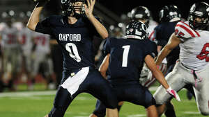 Oxford QB Kyle Chudoba, during high school football action against Masuk in Oxford, Conn. on Friday October 4, 2013.
