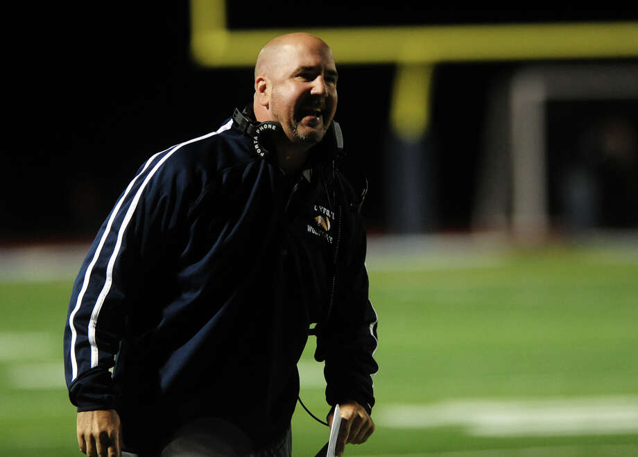 Oxford Head Coach Joe Stochmal, during high school football action against Masuk in Oxford, Conn. on Friday October 4, 2013. Photo: Christian Abraham / Connecticut Post
