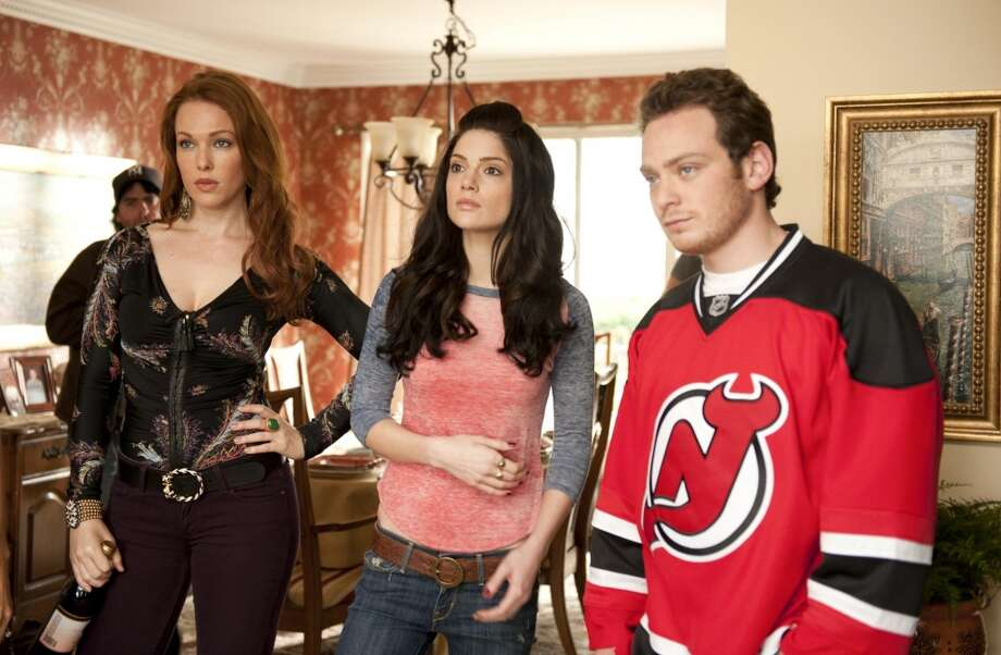 "Erin Cummings as Bonnie, Janet Montgomery as  Martina and Joe Siravo as Albert in the CBS series ""Made in Jersey."""