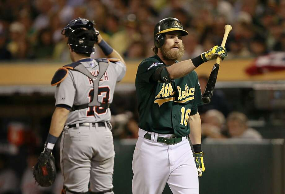 Josh Reddick strikes out in the fifth inning, among 16 strikeouts by the A's hitters against three Detroit pitchers. Photo: Michael Macor, The Chronicle