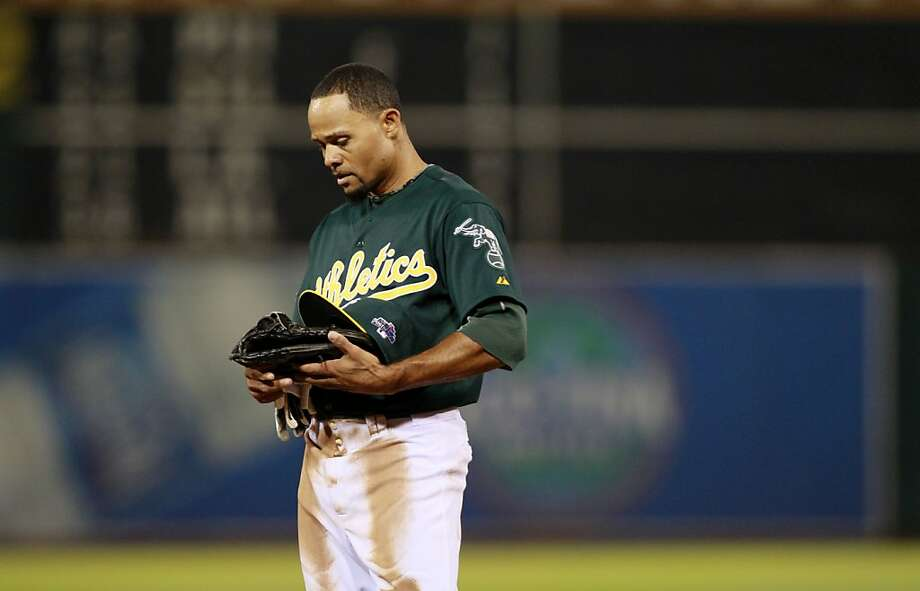 Coco Crisp is left on base after Josh Donaldson struck out to end the sixth inning. The A's fanned 16 times in Game 1. Photo: Michael Macor, The Chronicle